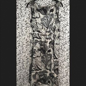 Tahari Arthur S Levine Black/Grey Floral Dress
